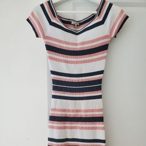 Striped pink and white dress